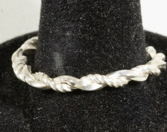 Sterling Silver Cable Ring Rope Braided Stackable Ring,
