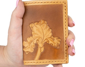 Leather Bifold Wallet Women, Leather Wallet With Flowers, Valentines Day Gift For Her, Floral Wallet,  Cottagecore Wallet Small Wallet