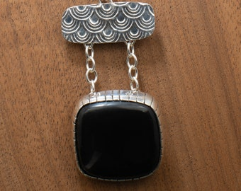 Large Bold Necklace and Earring Set, Sterling Silver and Black Obsidian Stone,