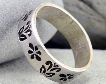 Floral Jewelry, Silver Rings under 50, Sterling Silver Ring,Stamped Rings, Handmade Rings,