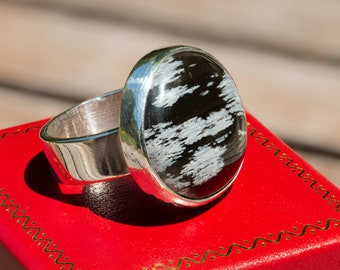 Handmade Sterling  Ring with a Snowflake Obsidian Cabochon