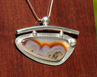 Handmade Sterling Silver and Montana Agate Art Deco Pendant