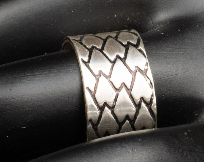 Featured listing image: Dragon Scale Etched Silver Ring, Handmade Sterling  Silver Ring,