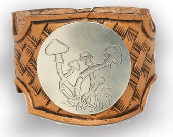 Leather Cuff Bracelets For Women Mother's Day Gift For Mom Tooled Leather Engraved Mushroom Silver Concho