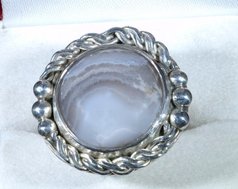 Large Sterling Silver Ring, Crazy Lace Cabochon Gemstone, Size 7, For Women Statement Ring