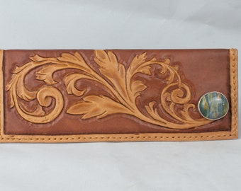 Brown Leather Wallet Women's Handmade Long Wallet, Tooled Leather Wallet, Mothers Day Gift From Daughter Credit Card Holder Western Wallet