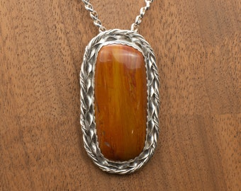 "Large, ""Arizona Rainbow"" Petrified Wood Sterling Silver Pendant Natural Stone Jewelry"