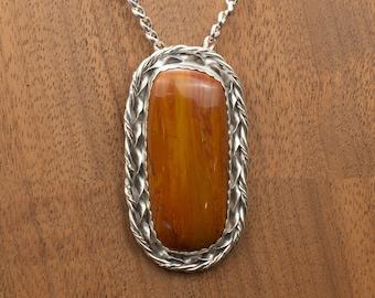 "Large, ""Arizona Rainbow"" Petrified Wood Sterling Silver Pendant Natural Stone Jewelry, Western Wear, Western Fashion"