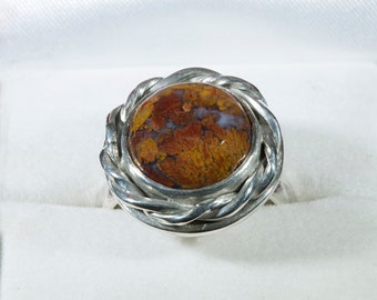 Handmade Sterling  Ring with a Plume Agate,  Western Wear, Western Fashion