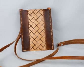 Tooled  Leather Crossbody Wallet, Phone, Passport Bag with Adjustable Strap
