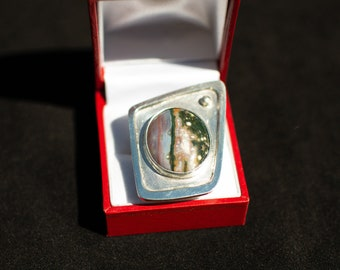Large Statement Ring, Ocean Jasper and Sterling Siver