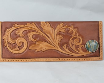 Tooled Leather Women's  Western Long wallet, Tooled Leather 6 Card Wallet with 2 Large Pockets, Western Wallet
