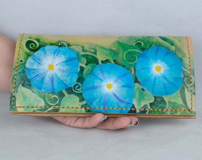 Featured listing image: Hand Painted Leather Long wallet, Leather 6 Card Wallet with 2 Large Pockets Adorned with a Hand painted Morning Glories