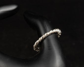 Sterling Silver (.925) Cable Ring Rope Braided Stackable Ring,