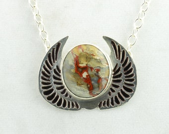 Handmade Sterling  Pendant with  Moroccan Crimson Agate Cabochon