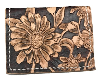 Tooled Wallet Women's, Wallet With Flowers, Floral Wallet, Valentines Day Gift For Wife, Gift for Girlfriend Small Wallet Cottagecore Wallet