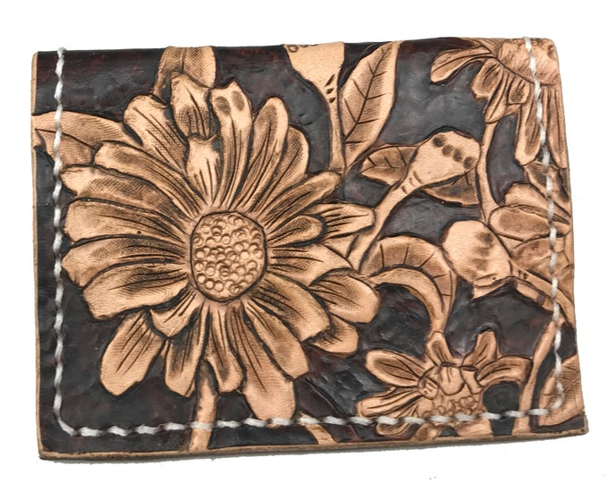 Featured listing image: Small Leather Western Wallet For Women, Card Wallet, Tooled Leather Bi-fold Wallet with Hand Stamped Daisies,  4 Card Wallet