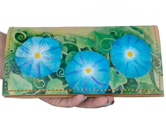 Leather Wallet For Women, Leather Wallet With Flowers, Valentines Day Gift For Her,  Floral Wallet Gift For Wife, Hand Painted Leather