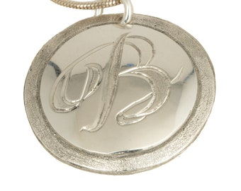 Initial Silver Pendant Necklace Sterling  Engraved Cursive Letter Necklace Mothers Day Gift From Daughter  Bling Personalized Gifts