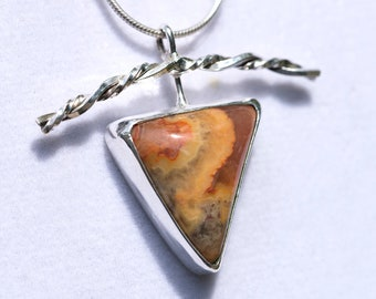 Handmade Sterling  Pendant with a Crazy Lace Agate Stone