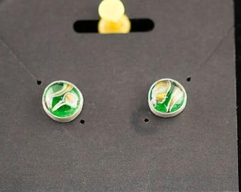 Green, Lampwork Earrings