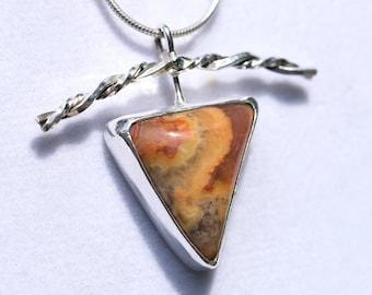 """Crazy Lace Agate"" Handmade Sterling  Pendant"