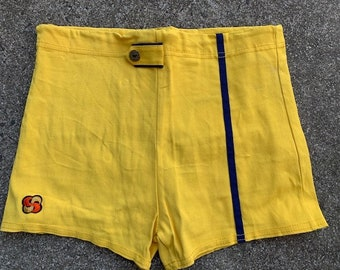Vintage 70/'s80/'s Bayline by Laguna Blue White and Yellow Short Swim Trunks Size Large Waist Measures 40 Inches