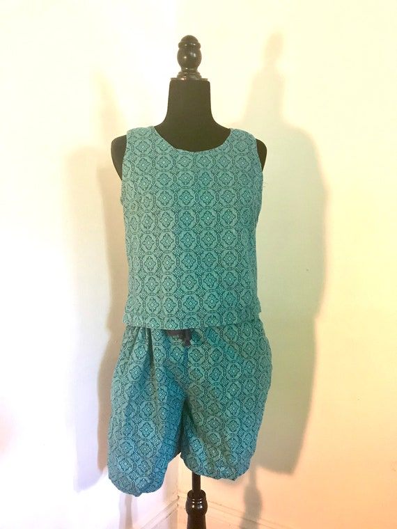 1960s Vtg. Blue-Green Two Piece Shorts Set With Ge