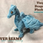 Tiny Dragon Plushie - French Blue/Gold Dot