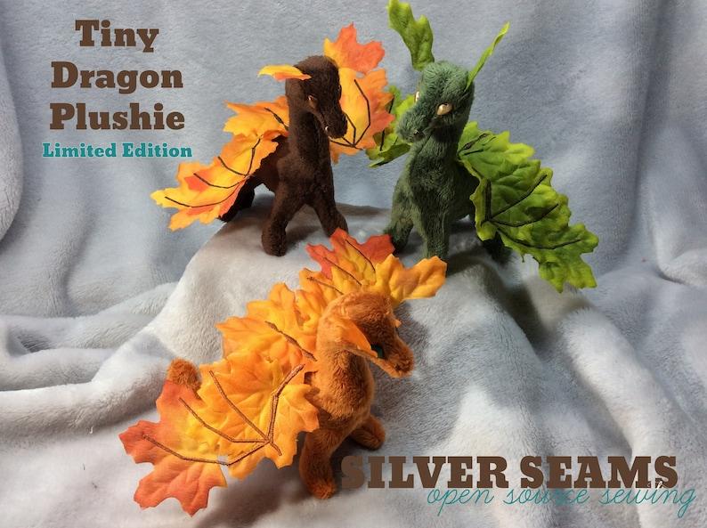 Tiny Dragon Plushie  Brown Leafwing Autumn Maple Version image 0