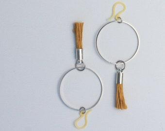 Small Hoop Earrings, Minimal, Tassel, Simple, Summer, Mustard Yellow, Boho, Delicate, Geometric Best friend Gift Birthday Gift Gift Under 30