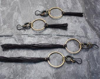 Art Deco, Small Hoop Earrings, Tiny Hoop, Geometric, Urban, Industrial, Gold Hoop, Hoop Earrings, Brass, Black Tassel, Gift For Her, Unique