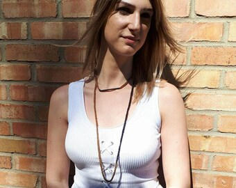 Minimalist Necklace, Long Necklace, Delicate Necklace, Crochet Necklace, Rope Necklace, Fabric Necklace, Knitted Necklace, Textile Necklace