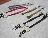 Long Geometric Tassel Earrings, Fall Colors: Raw Brass Hoop, Slate Gray, Garnet Red, Lichen Green or Classic Black.