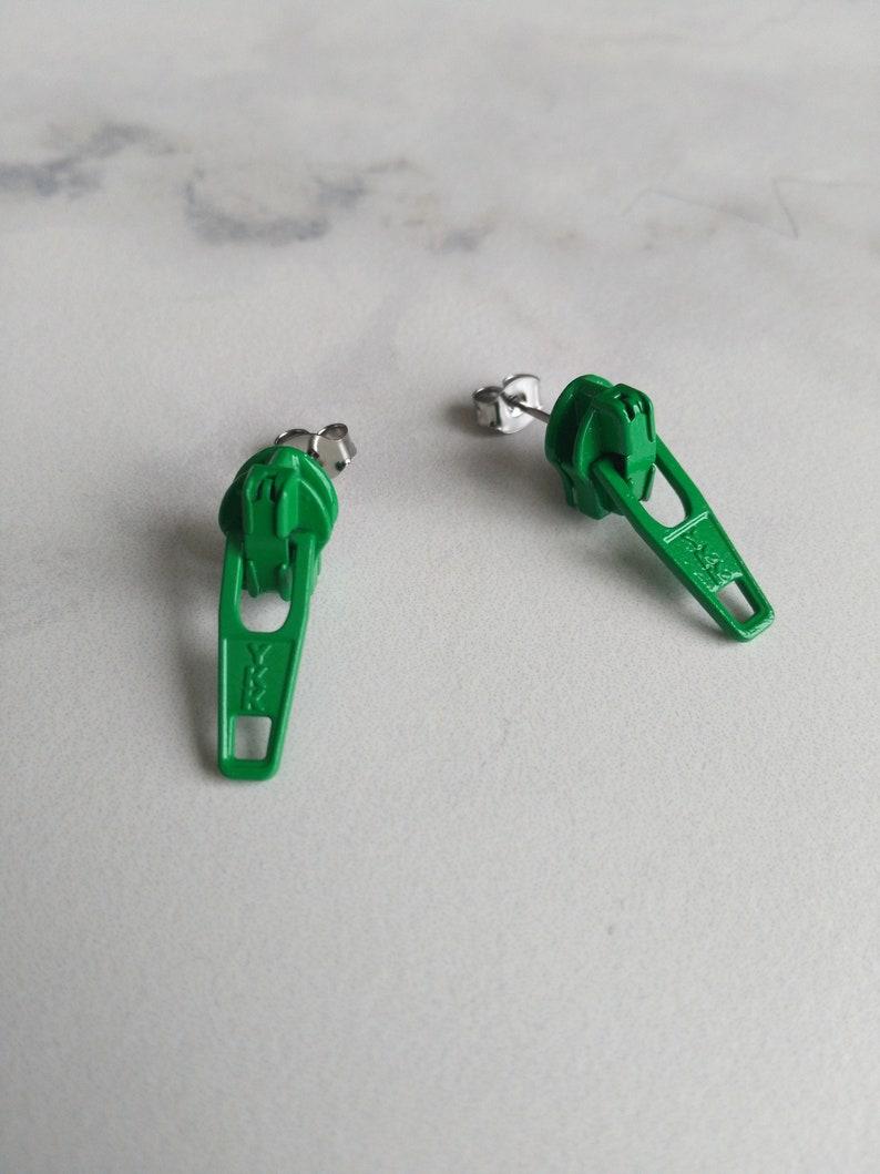 Summer 80s Fashion Grass Green Zipper Earrings Funky image 0