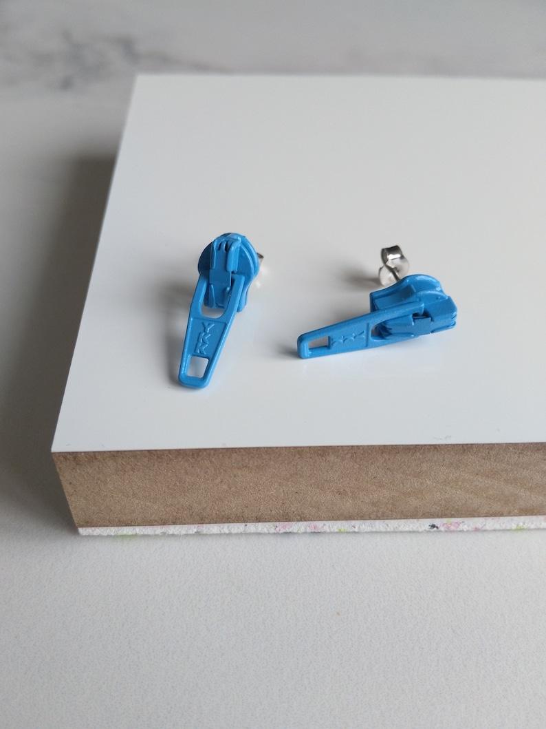 BLUE Zipper Earrings Funky Earrings Kitsch Jewelry Novelty image 0