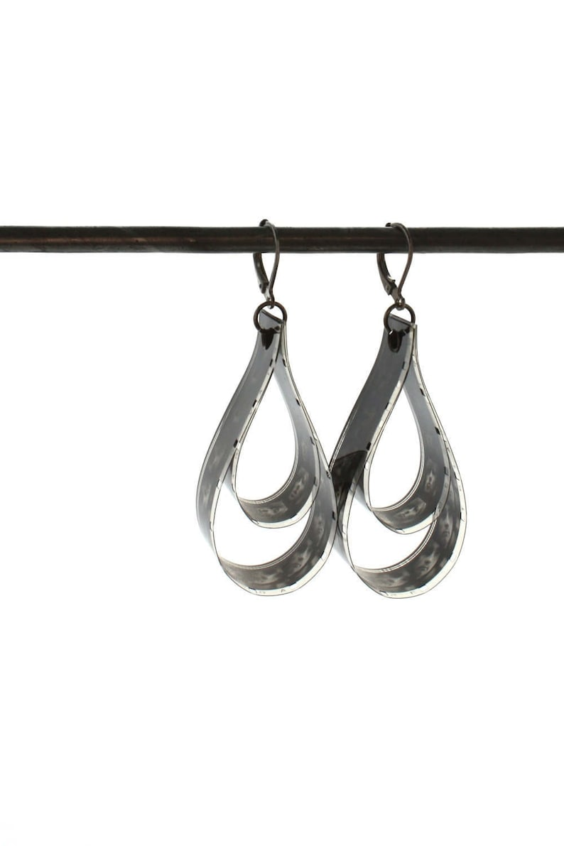 black drop earrings unique statement jewelry black and white image 0