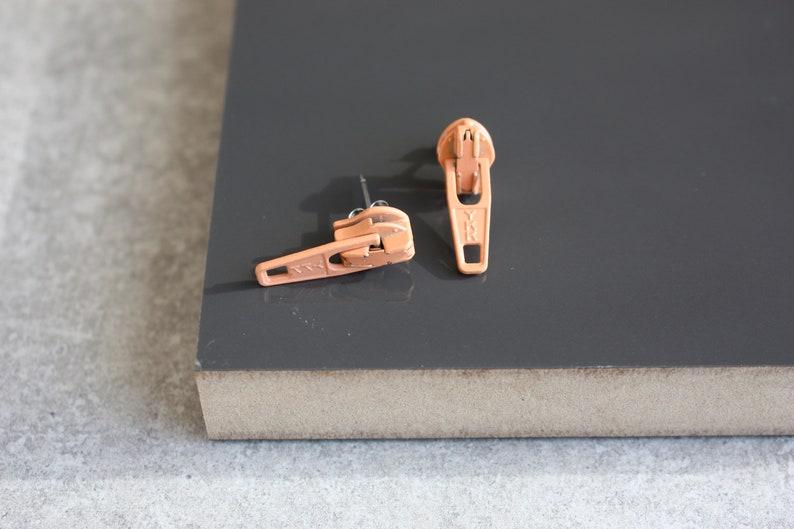 80s Fashion Peach Zipper Earrings Funky Earrings Kitsch image 0