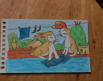 """Daily Palette original drawing : """"Rabbit Washing Day' in 7 colors"""