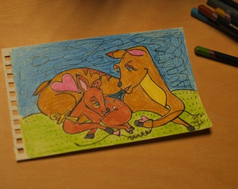 """Daily Palette original drawing : """"Mother Song' in 8 colors"""