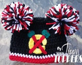 Crocheted CHICAGO BLACKHAWKS Hat Cap beanie baby girl boy ears or pom poms