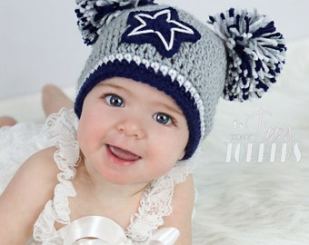 ... inexpensive crocheted dallas cowboys hat cap beanie baby boy girl pom  poms or ears be88e 8d47f e1cc53cad80