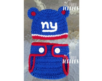 062e01a1b Crocheted NEW YORK GIANTS ny Hat and diaper cover set baby girl or boy ears  or pom poms