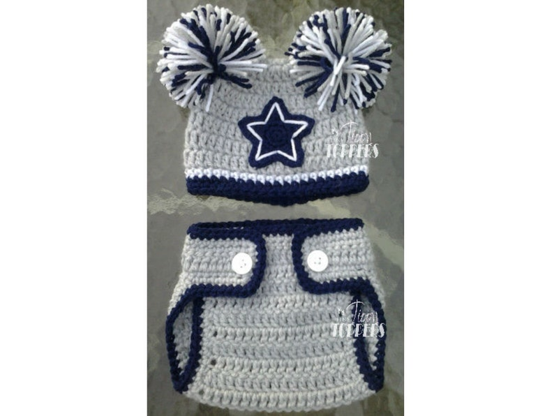 Crocheted Dallas Cowboys Hat And Diaper Cover Set Baby Girl Etsy