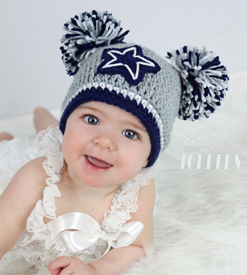 Crocheted Dallas Cowboys Hat Cap Beanie Baby Boy Girl Pom Poms Etsy