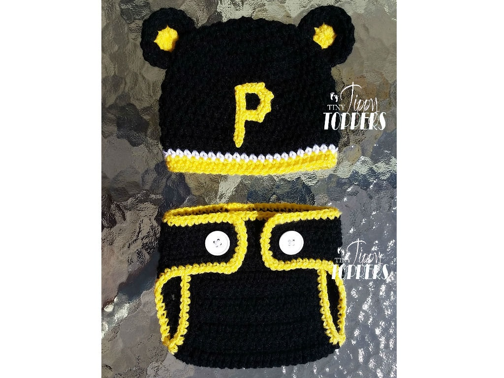 5d0522c51 Crocheted PITTSBURGH PIRATES Hat and Diaper cover set - baby girl or boy -  ears or pom poms