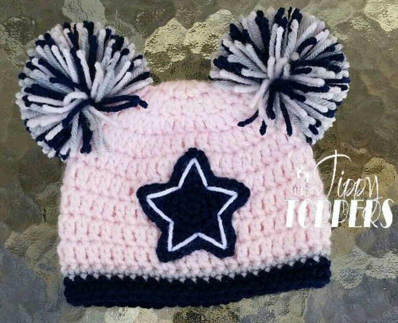 Crocheted Dallas Cowboys Hat Cap Beanie Baby Girl Boy Pom Poms Etsy