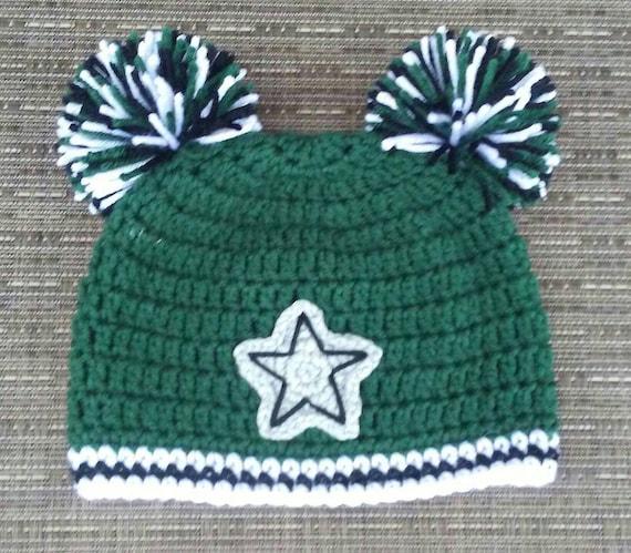 82f56e7e99e Crocheted DALLAS STARS Hat cap beanie baby boy girl pom poms