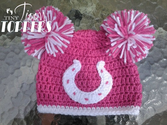 1716626ecd8 Crocheted INDIANAPOLIS COLTS Hat beanie cap baby girl ears or