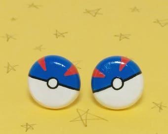 Pokemon Greatball Pokeball Clay Sterling Silver Post Earrings